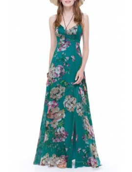 Maxi Floral Slit Backless Cami Dress by Cici.Wang