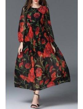 Floral Print Maxi Dress by Oserjep