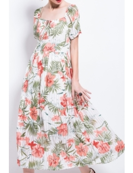 Square Neck Floral Pleated Dress by Aibiry