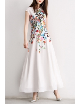 Floral Print Maxi Dress by Osafei