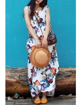 Floral Print High Slit Dress by Anne Chen