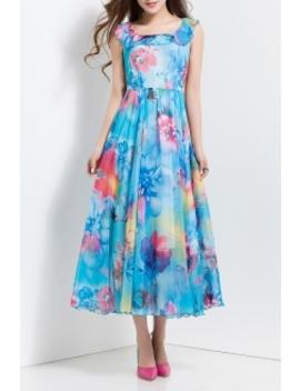 Floral Print Flouncing Chiffon Dress by Borme