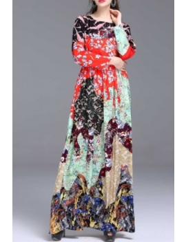Colorful Floral Print Maxi Dress by ByMegyn