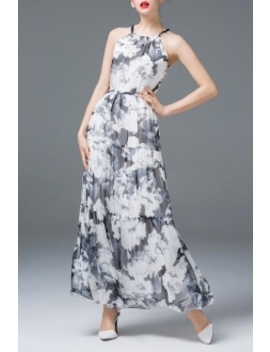 Beaded Floral Print Maxi Dress by Ziyi