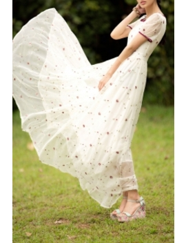 Floral Embroidered Chiffon Maxi Dress by Eavnos