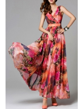 Floral Print Layered Maxi Dress by Eavnos