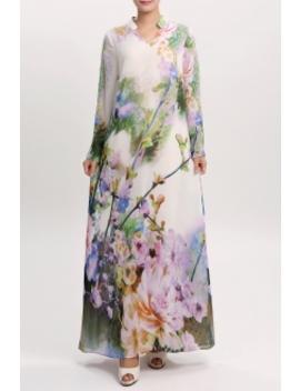 Floral Print Long Sleeve Cheongsam Dress by Yb