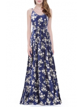 A Line Long Floral Slip Dress by Cici.Wang