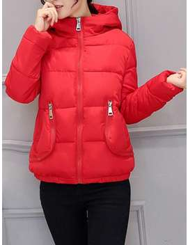 Slim Pocket Design Hooded Puffer Jacket by Dress Lily