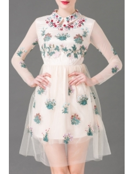 Floral Embroidered Tulle Dress by Burryco