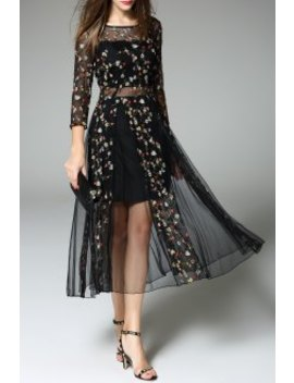 Sheer Tiny Floral Embroidered Dress by Daianxi