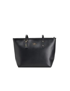 City Zip Tote In Crossgrain Leather   Black by Coach