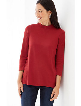 Elliptical Mock Neck Top by J.Jill