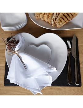 Porto Stoneware Heart Dinner Plate    White by The White Company