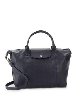 le-pliage-leather-medium-top-handle-bag by longchamp