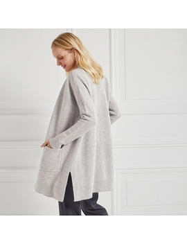 Merino Textured Stitch Cardigan   Pale Gray Marl by The White Company