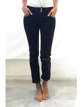 Distressed Mid Rise Black Jeans by Highway Jeans