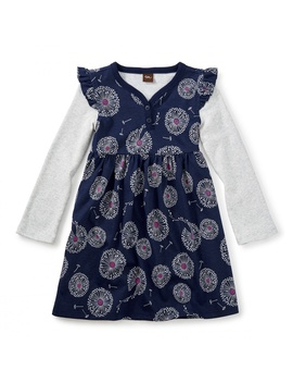 Wish Button Neck Dress by Tea Collection