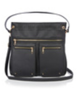 Black Laser Cut Detail Crossbody Bag by Tu