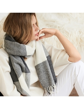 Wool Oversized Patchwork Scarf   Gray Alabaster by The White Company