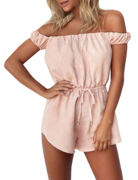 "<Span Itemprop=""Name"" Content=""Slash Neck Off Shoulder Drawstring Waist Romper"">Slash Neck Off Shoulder Drawstring Waist Romper</Span> by Oasap"