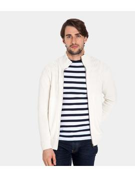Mens 100% Cotton Cable Detail Chunky Zip Through Cardigan by Wool Overs