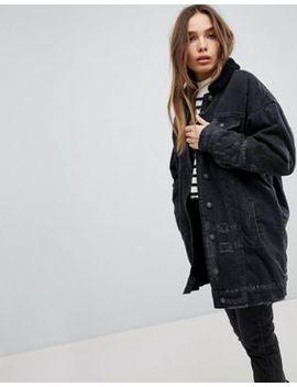pull&bear-longline-fur-collar-denim-jacket by pull&bear