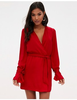 Prettylittlething Satin Wrap Cuff Detail Shift Dress by Lipsy
