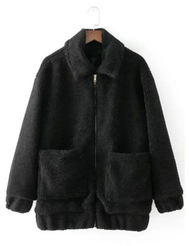 Fashion Full Zip Loose Lamb Wool Coat by Oasap