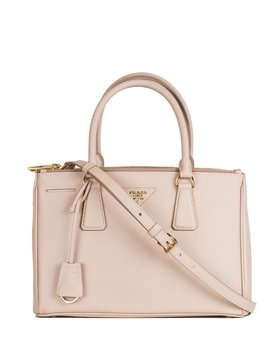 Galleria Saffiano Leather Double Zip Tote   Nude by Prada