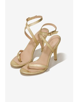 Leather Heeled Sandals In Gold by Lavish Alice