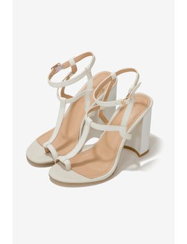 Leather Heeled Sandals In Ivory by Lavish Alice