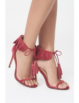 Red Suede Ruffle Stiletto by Lavish Alice