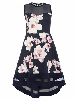 Quiz Floral Sweetheart Neckline Dip Hem Dress by Lipsy