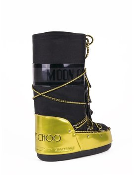 Panelled Mb Moon Boots   Black / Acid Yellow by Jimmy Choo