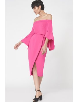 Bell Sleeve Bardot Dress In Fuchsia Pink by Lavish Alice