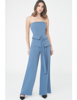 Strapless Jumpsuit With Corset Belt by Lavish Alice