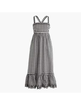 Tall Puckered Gingham Dress With Eyelet Trim by J.Crew