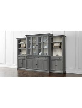Cameo 4 Piece Modular Grey Glass Door Wall Unit With Storage Bookcases by Crate&Barrel