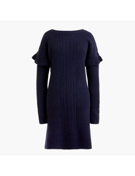 Petite Cable Knit Ruffle Sleeve Sweater Dress by J.Crew