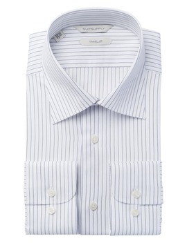 Dark Blue Stripe Traveller Shirt by Suitsupply