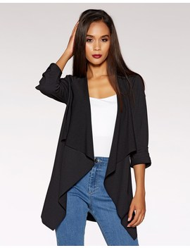 quiz-waterfall-ruched-front-jacket by lipsy