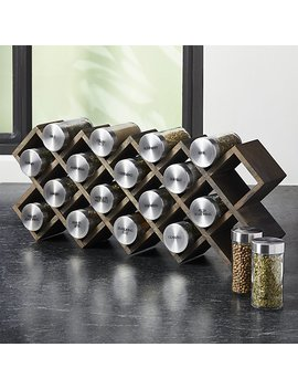 Grey Wash 18 Jar Spice Rack With Stainless Caps by Crate&Barrel