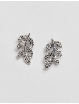 Design B London Silver Leaf Stud Earrings by Design B