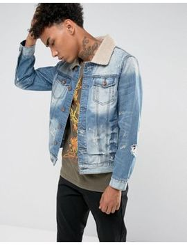 Black Kaviar Denim Jacket With Fleece Collar And Distressing by Black Kaviar