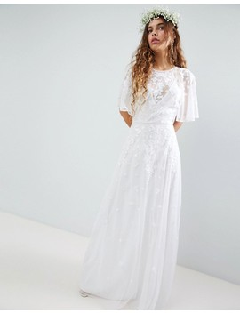 Asos Edition Wedding Floral Embroidered Dobby Mesh Flutter Sleeve Maxi Dress by Asos Edition
