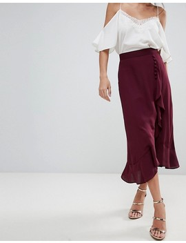 Asos Chiffon Midaxi Skirt With Button And Frill Detail by Asos Collection