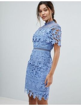 Chi Chi London Lace High Neck Pencil Midi Dress by Chi Chi London