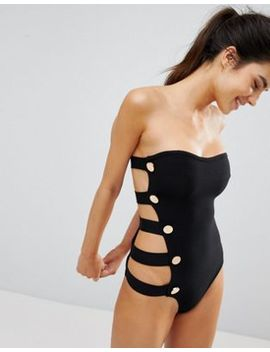 Pretty Little Thing Bandage Button Side Swimsuit by Pretty Little Thing