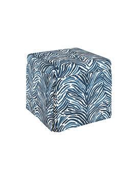 Anne Skirted Storage Ottoman, Blue Zebra by One Kings Lane